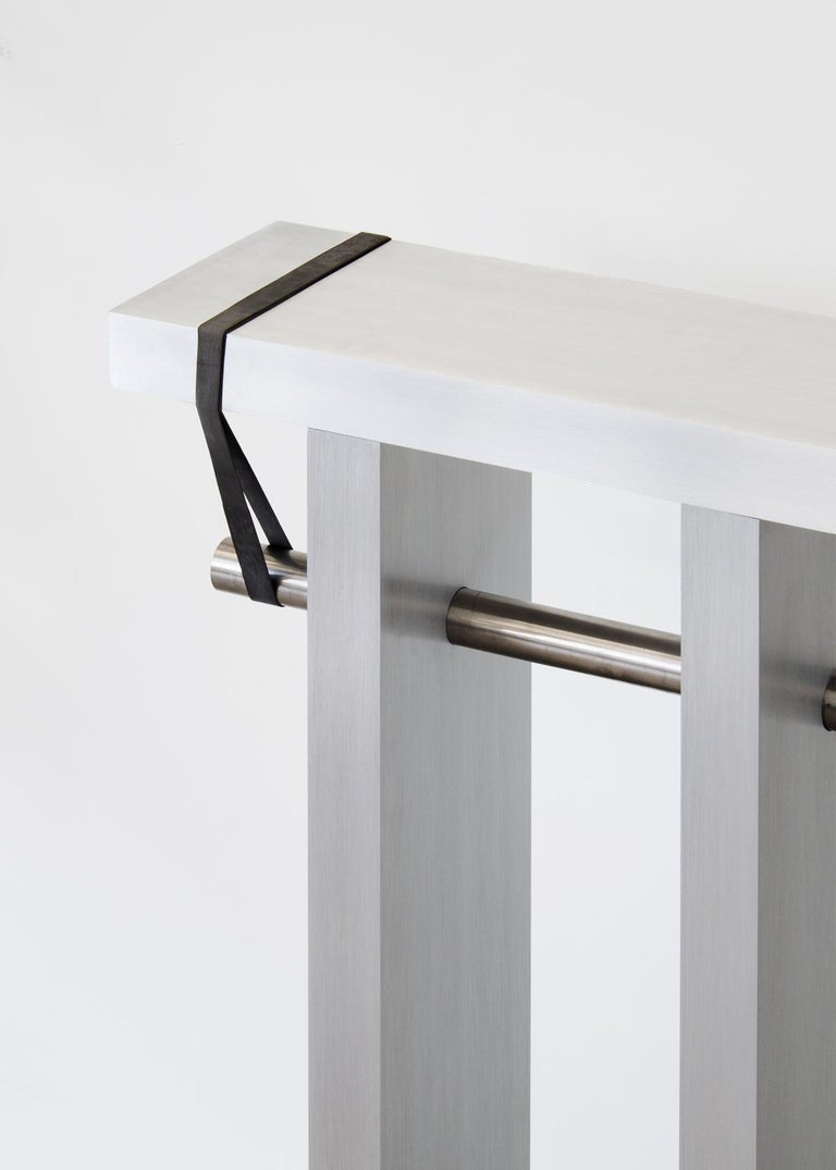 Contemporary 'Arke' Console in Brushed Aluminium and Polished Stainless Steel In New Condition For Sale In Rotterdam, NL