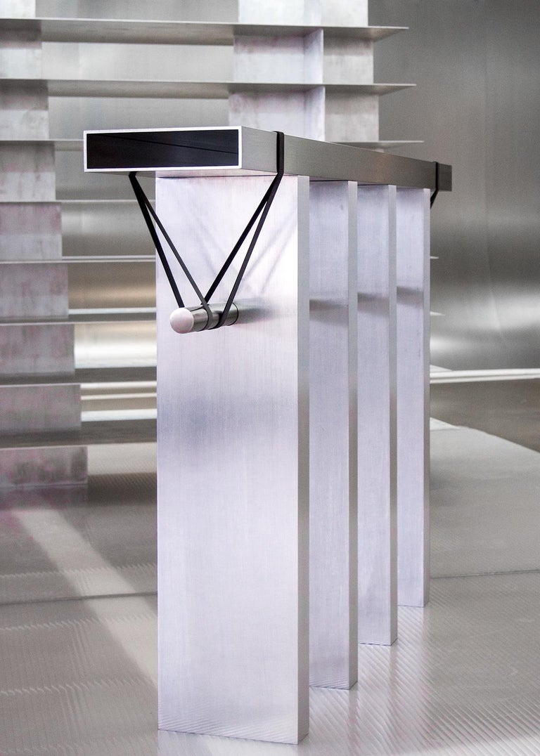 Contemporary 'Arke' Console in Brushed Aluminium and Polished Stainless Steel For Sale 1