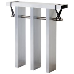 Contemporary 'Arke' Console in Brushed Aluminium and Polished Stainless Steel