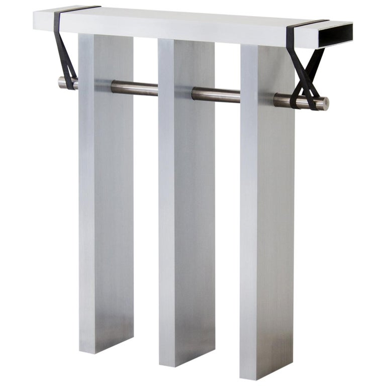 Contemporary 'Arke' Console in Brushed Aluminium and Polished Stainless Steel For Sale