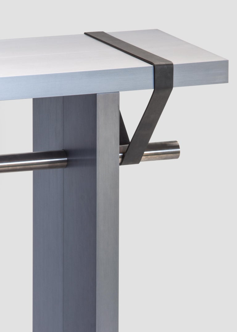 Stainless Steel Contemporary 'Arke - Double' Console in Anodised Aluminium For Sale
