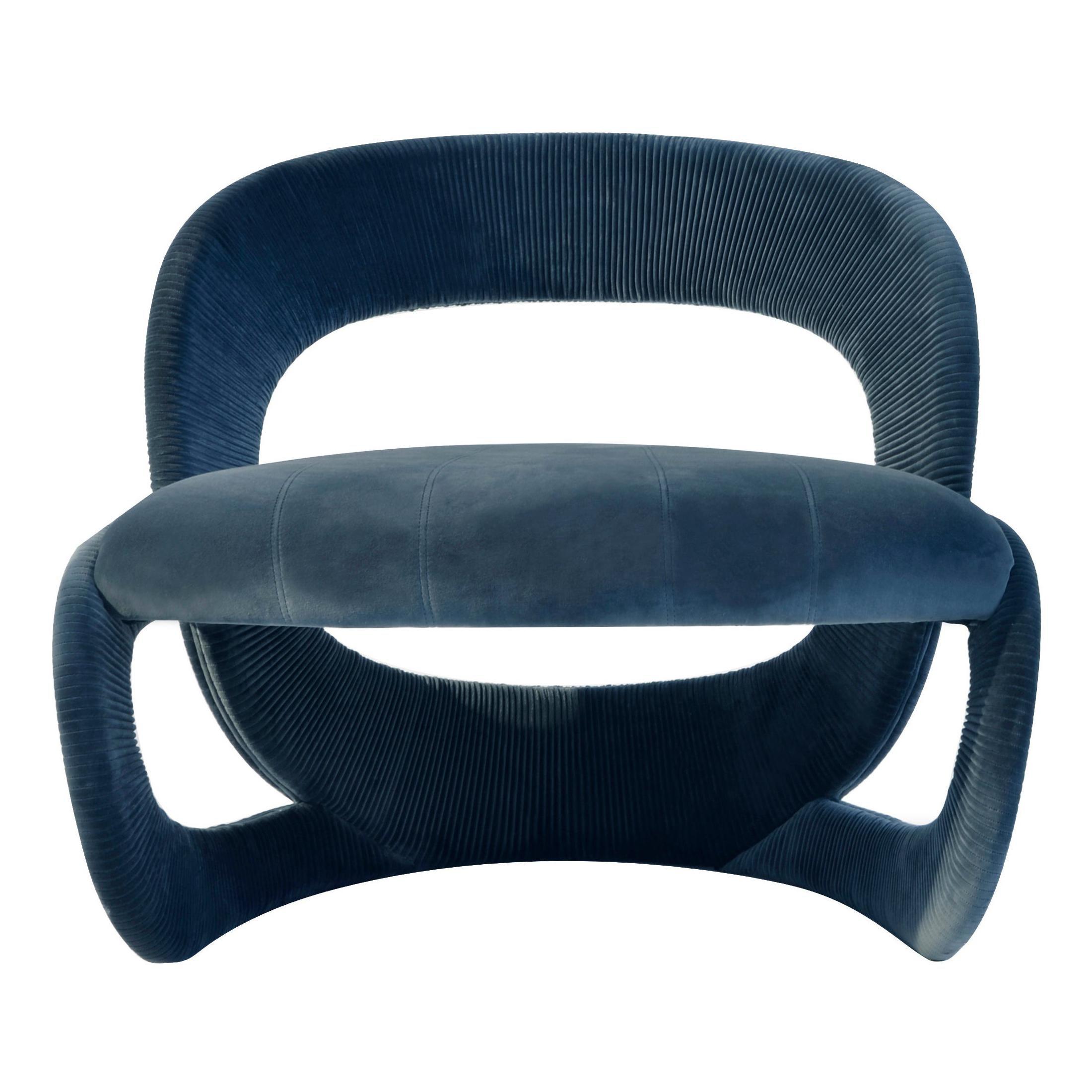 Contemporary Armchair by Hessentia in Blue Velvet