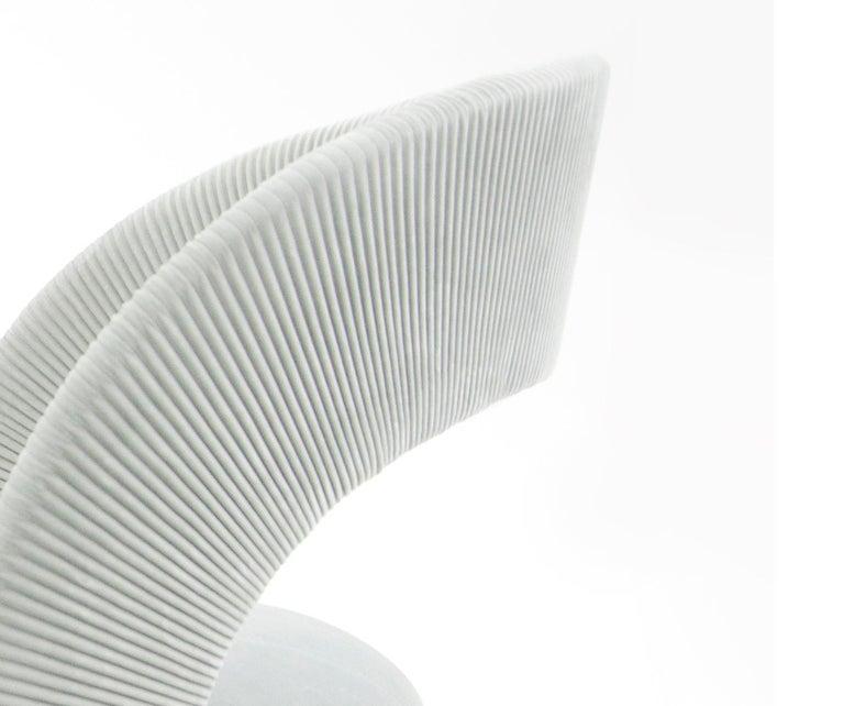 Modern Contemporary Armchair by Hessentia in Light-Blue Velvet For Sale