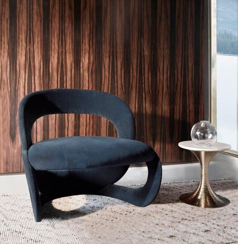 Contemporary Armchair by Hessentia in Light-Blue Velvet For Sale 1