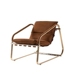 Contemporary Armchair by Hessentia Upholstered with Brown Leather, Metal Legs