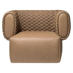 Contemporary Armchair by Hessentia Upholstered with Three-Dimensional Quilting