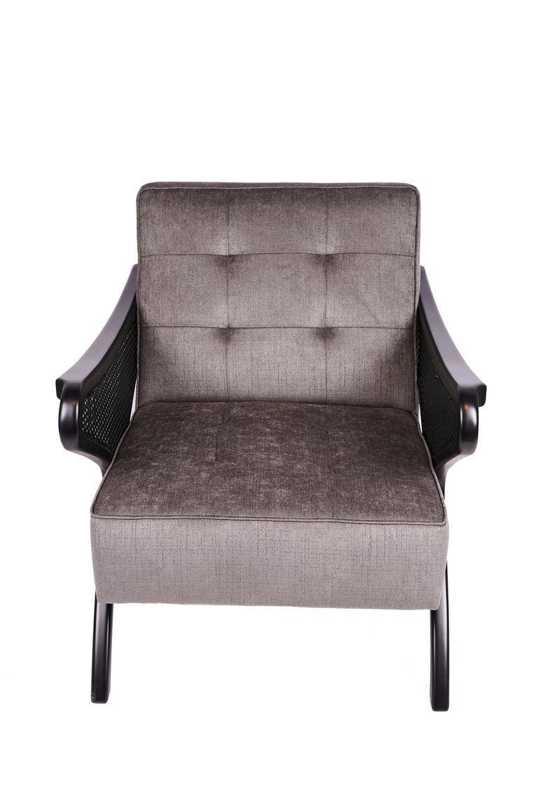 Modern Contemporary Armchair in Black Walnut Featuring Rattan Arms & Gray Velvet For Sale