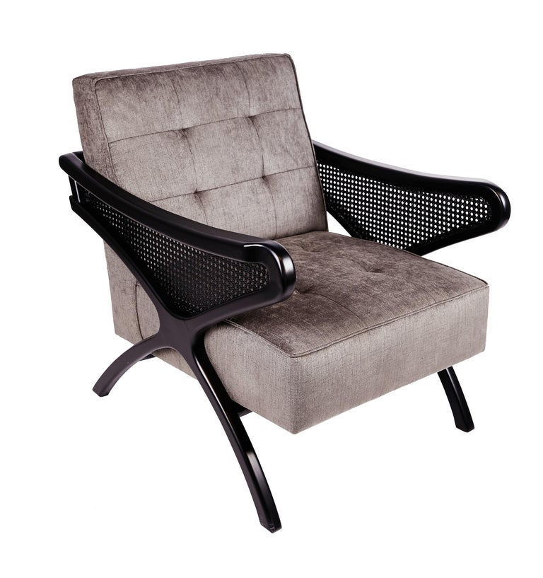 Contemporary Armchair in Black Walnut Featuring Rattan Arms & Gray Velvet For Sale 1