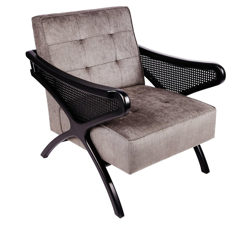 Contemporary Armchair in Black Walnut Featuring Rattan Arms & Gray Velvet For Sale