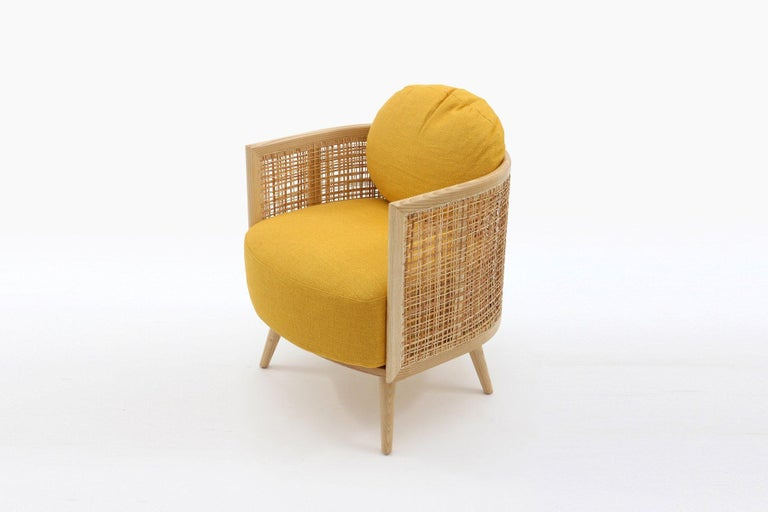 Asian Contemporary Armchair in Natural Cane Webbing For Sale