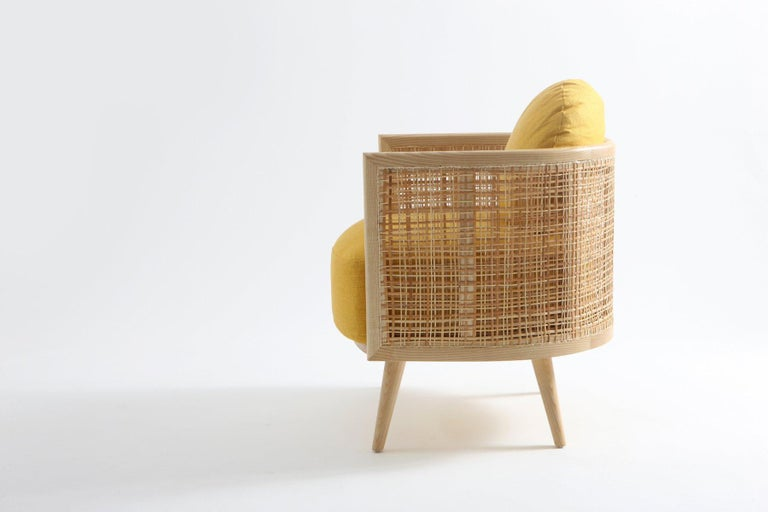 Contemporary Armchair in Natural Cane Webbing In New Condition For Sale In New York, NY