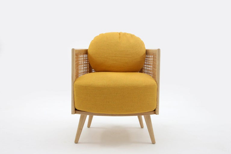Straw Contemporary Armchair in Natural Cane Webbing For Sale