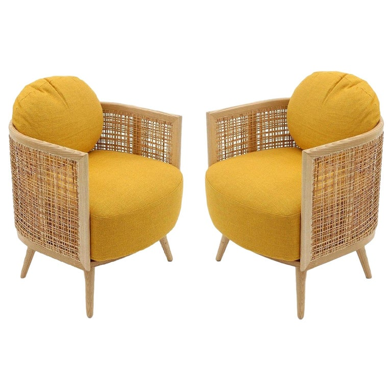Contemporary Armchair in Natural Cane Webbing For Sale