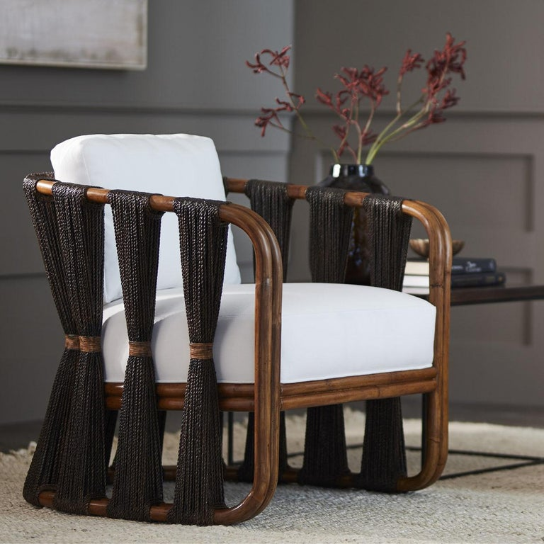 Modern Rattan Armchair with Natural Woven Black Rope and Twill Upholstery  For Sale