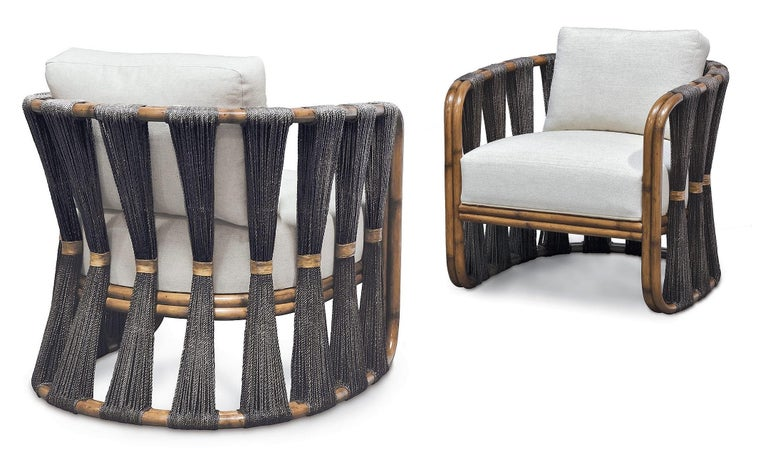 North American Rattan Armchair with Natural Woven Black Rope and Twill Upholstery  For Sale