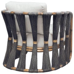 Rattan Armchair with Natural Woven Black Rope and Twill Upholstery
