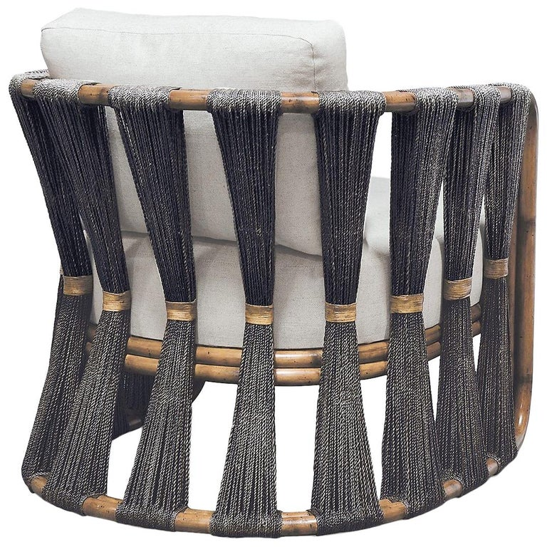 Rattan Armchair with Natural Woven Black Rope and Twill Upholstery  For Sale