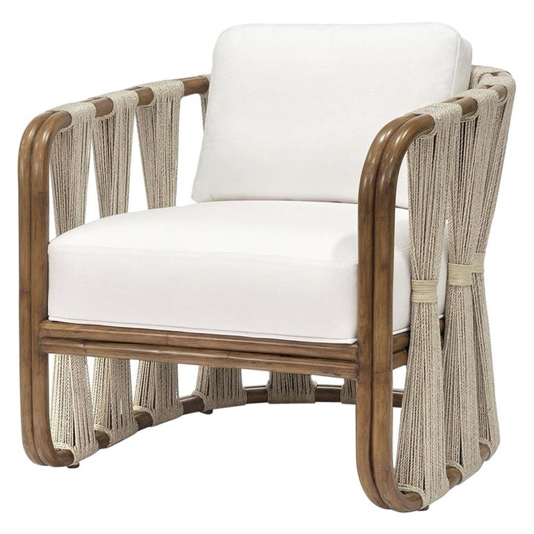 Rattan Armchair with Natural Woven Rope and Natural Twill Upholstery  For Sale