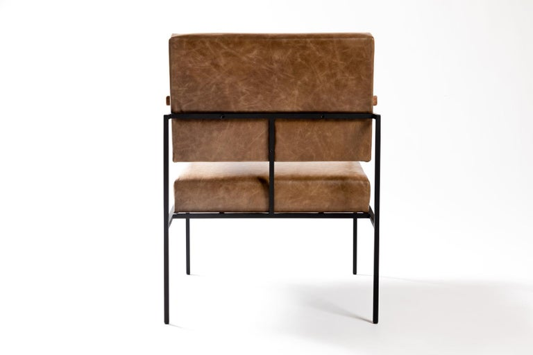 Post-Modern Contemporary Armchair in Steel and Leather,