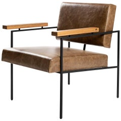 "Contemporary Armchair in Steel and Leather, ""Helena"" by Samuel Lamas"