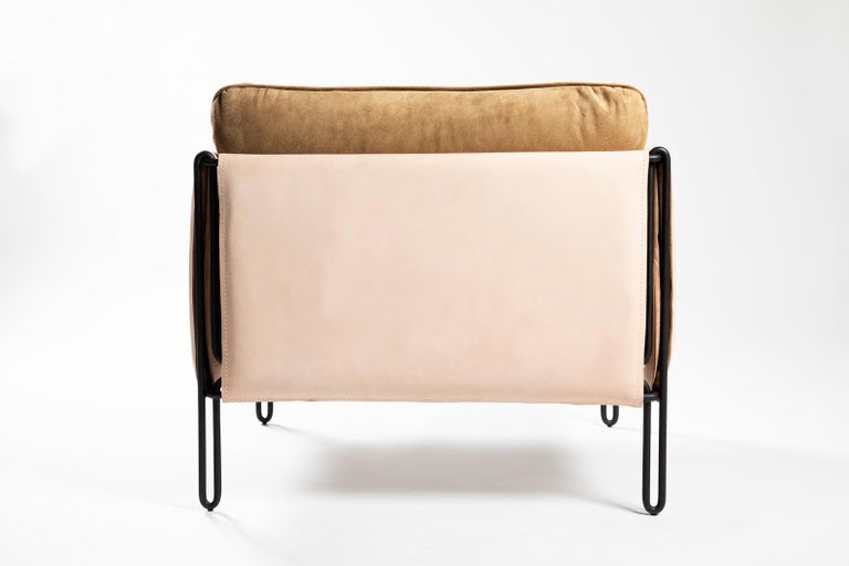 Brazilian Contemporary Armchair in Steel and Leather,