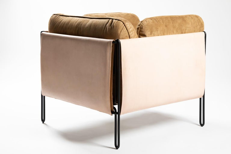 Painted Contemporary Armchair in Steel and Leather,