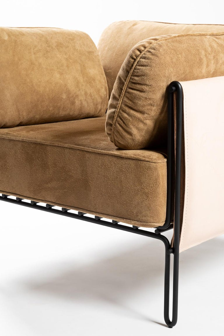 Contemporary Armchair in Steel and Leather,