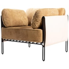 "Contemporary Armchair in Steel and Leather, ""Sonia"" by Samuel Lamas"
