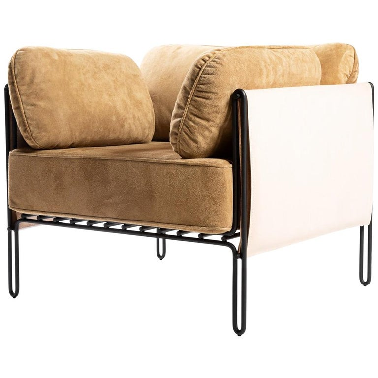 "Contemporary Armchair in Steel and Leather, ""Sonia"" by Samuel Lamas For Sale"