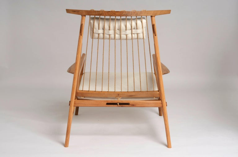 Contemporary Armchair in Tropical Reclaimed Hardwood by Ricardo Graham Ferreira For Sale 2