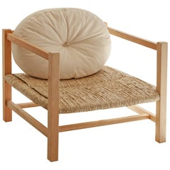 Contemporary Armchair in Wood and Braided Straw with Raw Cotton Cushion