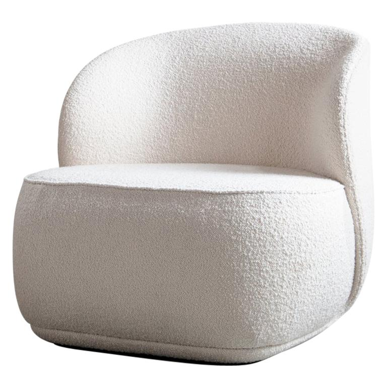 Contemporary Armchair 'La Pipe Lounge' with Bouclé Fabric