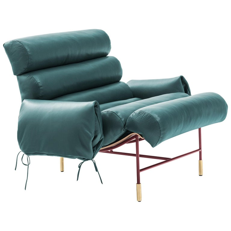 Contemporary Armchair Nuvola by Hannes Peer in Santos Rosewood and Full Leather For Sale