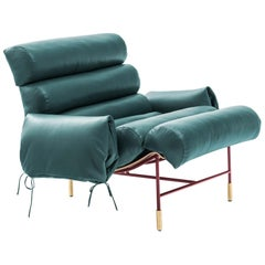 Contemporary Armchair Nuvola by Hannes Peer in Santos Rosewood and Full Leather