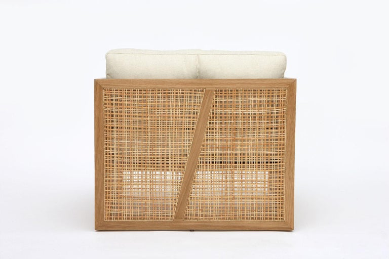 Asian Contemporary Armchair Set of 2 in Natural Straw For Sale