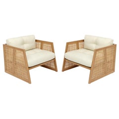Contemporary Armchair Set of 2 in Natural Straw