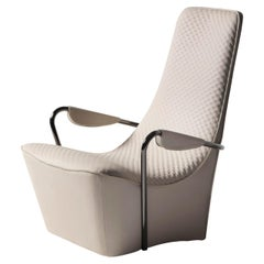 Contemporary Armchair Wave by Hessentia in Off-White Leather with Armrest