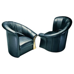 Contemporary Art Armchair Elica L / R Black Leather by Paolo Portoghesi