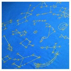 Contemporary Art Bed Cover Helioendimio Sky Blue Gold by Luigi Ontani
