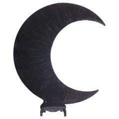 Contemporary Art Big Black Moon Black Velvet Sofa by Carla Tolomeo