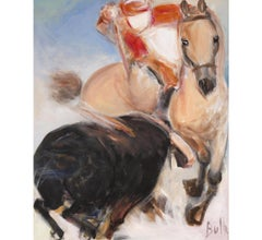 "Contemporary Art ""Bullfighting"" Impressionist, Horse, Bull, Acrylic on Canvas"