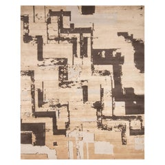 Contemporary Art Deco Beige and Brown Wool Rug with Geometric Field