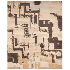 Contemporary Art Deco Beige and Brown Wool Rug with Geometric Field Pattern