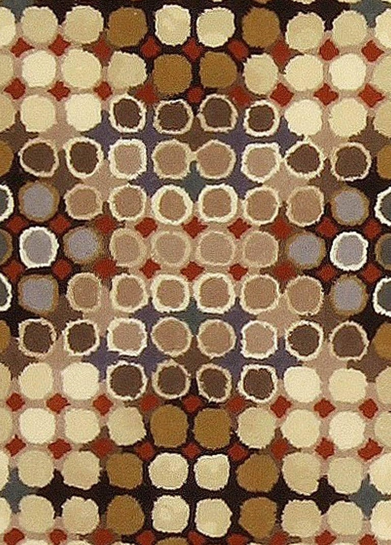 Contemporary Art Deco beige, brown, gray and cream dots hand knotted wool runner Size: 3'7