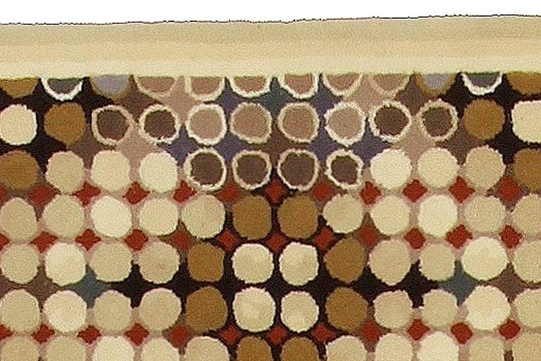 Modern Contemporary Art Deco Beige, Brown, Gray and Cream Dots Hand Knotted Wool Runner For Sale
