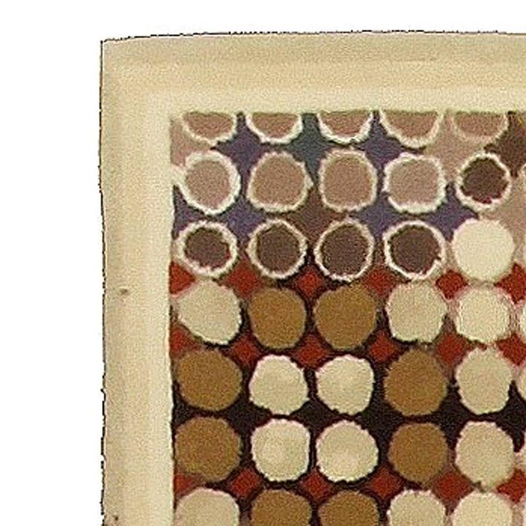 Indian Contemporary Art Deco Beige, Brown, Gray and Cream Dots Hand Knotted Wool Runner For Sale
