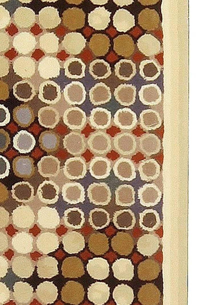 Hand-Knotted Contemporary Art Deco Beige, Brown, Gray and Cream Dots Hand Knotted Wool Runner For Sale