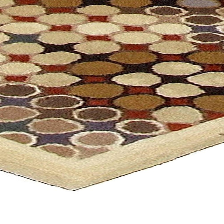 Contemporary Art Deco Beige, Brown, Gray and Cream Dots Hand Knotted Wool Runner In New Condition For Sale In New York, NY