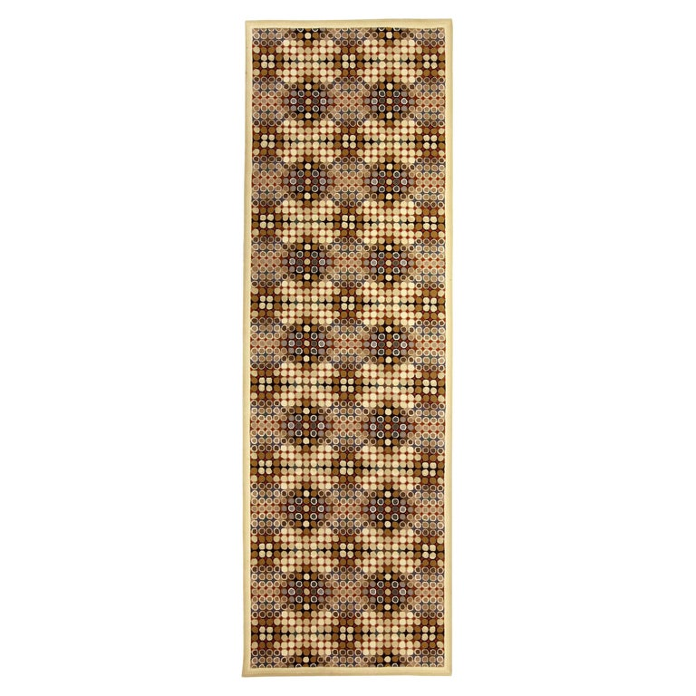 Contemporary Art Deco Beige, Brown, Gray and Cream Dots Hand Knotted Wool Runner For Sale