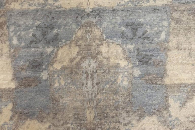 21st Century Art Deco design in shades of blue and gray wool rug Size: 13'0